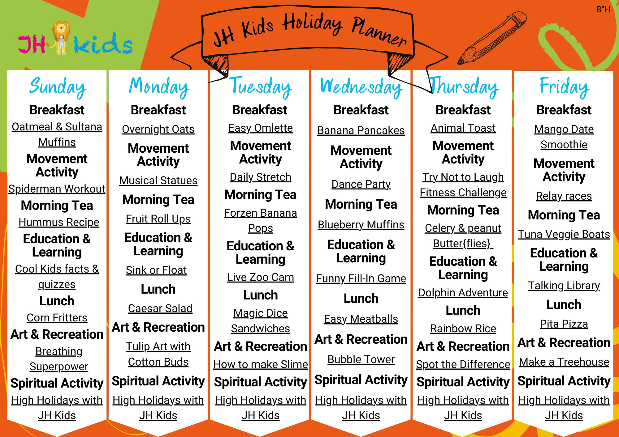 JH Kids Holiday Planner ORANGE