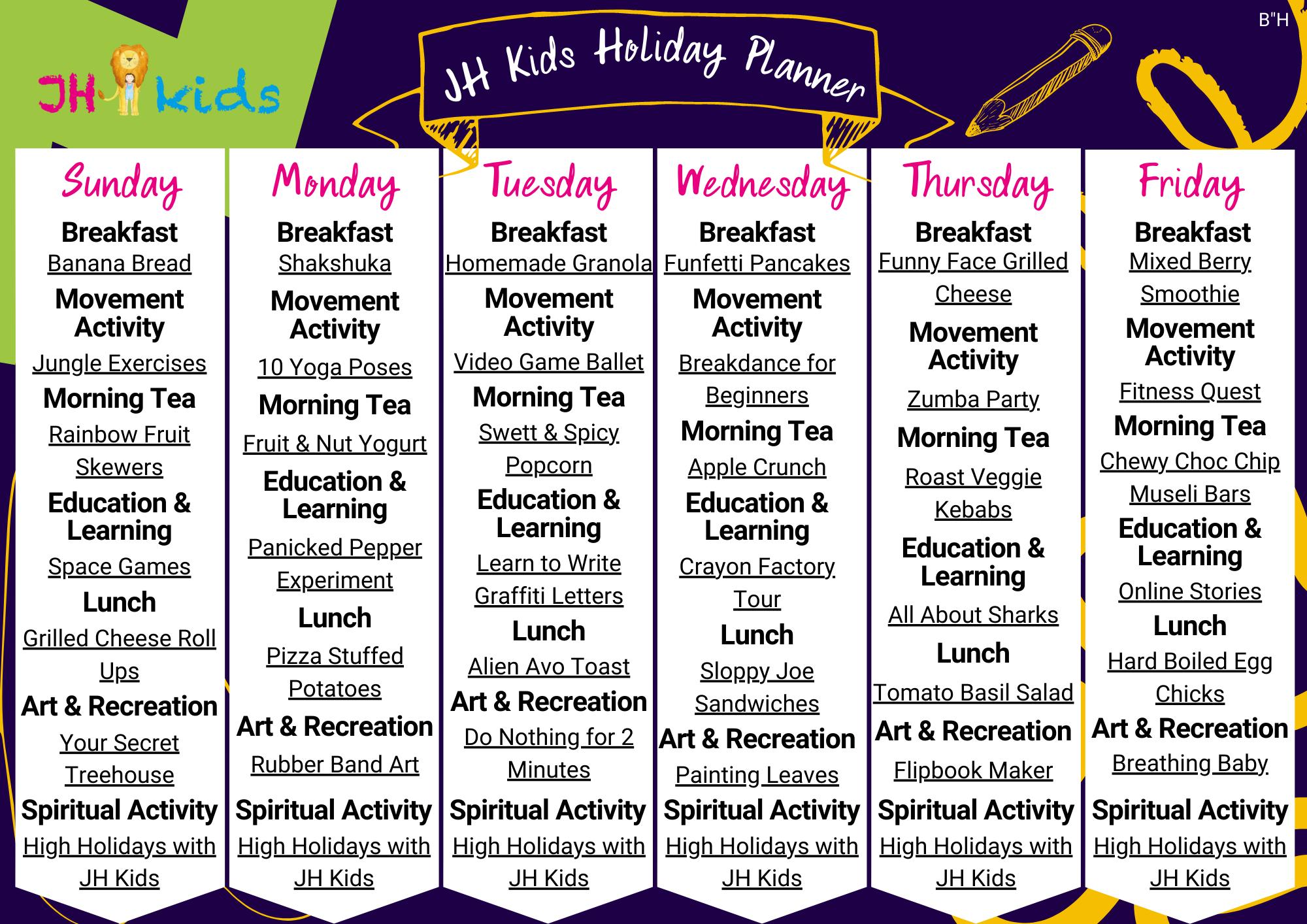 JH Kids Holiday Planner PURPLE